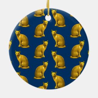 Ornamento De Cerâmica Gatos dourados