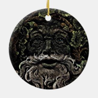 Ornamento De Cerâmica greenman primitivo do deus de floresta da folha da