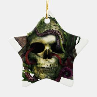 Ornamento De Cerâmica Grunge do crânio do polvo