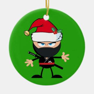 Ornamento De Cerâmica Guerreiro personalizado de Papai Noel Ninja