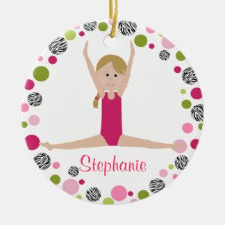 Ornamento De Cerâmica Gymnast da estrela nos rosa personalizados