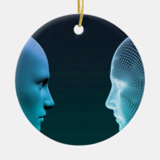 Ornamento De Cerâmica Homem contra a máquina que compete no futuro