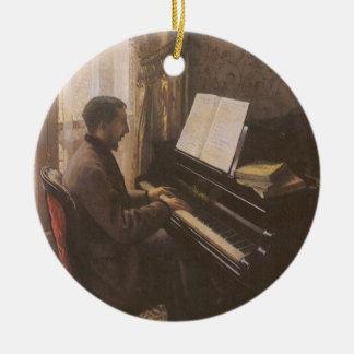 Ornamento De Cerâmica Homem novo que joga o piano por Gustave