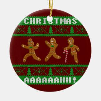 Ornamento De Cerâmica Homens de pão-de-espécie Scared do Natal camisola