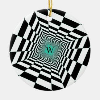 Ornamento De Cerâmica Ilusão branca preta