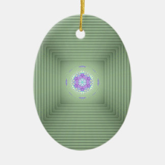 Ornamento De Cerâmica Ilusão óptica da lavanda 3D verde rara legal