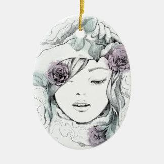 Ornamento De Cerâmica Ilustração tirada da mulher da aguarela mão