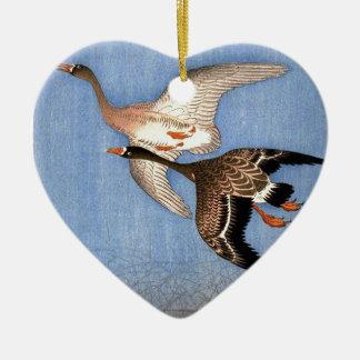 Ornamento De Cerâmica Impressão do vintage de gansos do vôo