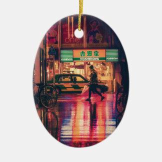 Ornamento De Cerâmica Japonês do viagem do marco de Ásia da noite de