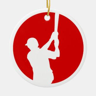 Ornamento De Cerâmica Jogador de beisebol branco vermelho personalizado