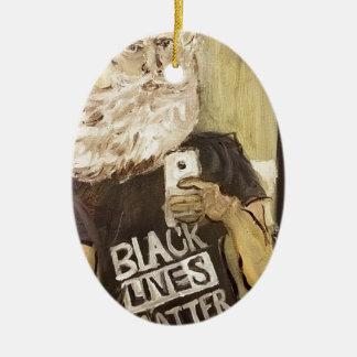 Ornamento De Cerâmica John Brown Selfie/matéria preta das vidas