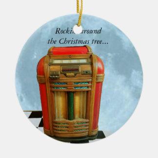 Ornamento De Cerâmica Jukebox e lua azul