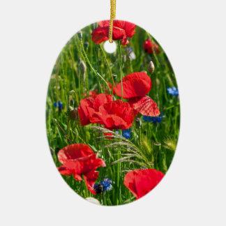 Ornamento De Cerâmica Klatschmohn vermelho com centáureas azuis