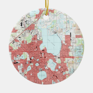 Ornamento De Cerâmica Lakeland Florida Mapa (1994)