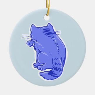 Ornamento De Cerâmica lambendo desenhos animados do doce do gato de gato