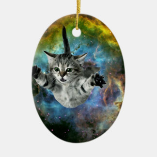 Ornamento De Cerâmica Lançamento do gatinho do universo do gato da