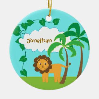 Ornamento De Cerâmica Leão na selva com as palmeiras personalizadas