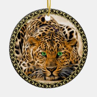 Ornamento De Cerâmica Leopardo verde-claro manchado do olho que olha o