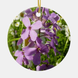 Ornamento De Cerâmica Lilac do verão e Wildflowers coloridos das
