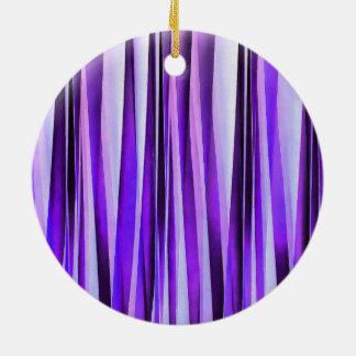 Ornamento De Cerâmica Lilac luxuoso, roxo e teste padrão Stripy de prata