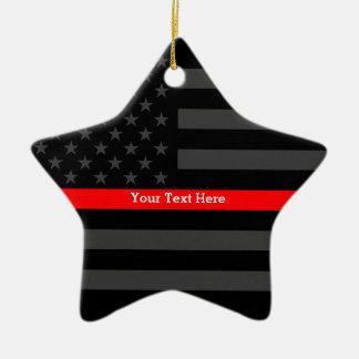 Ornamento De Cerâmica Linha vermelha fina personalizada bandeira