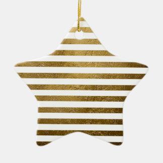 Ornamento De Cerâmica listras douradas impressas da cor