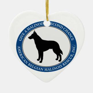 Ornamento De Cerâmica Logotipo do salvamento de Malinois,