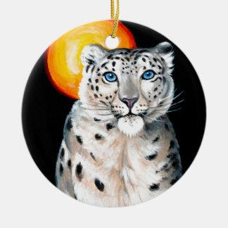 Ornamento De Cerâmica Lua do leopardo de neve
