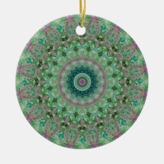 """Ornamento De Cerâmica Luz - estações do verde e do Lilac """": Mandala do"""