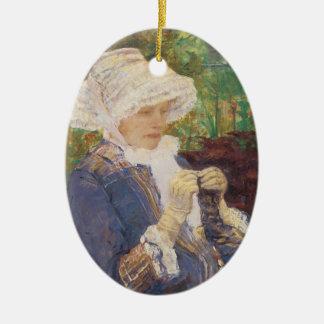 Ornamento De Cerâmica Lydia que Crocheting no jardim em margoso, Mary