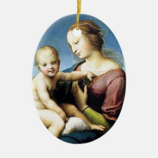 Ornamento De Cerâmica Madonna e criança do cristo que senta-se fora
