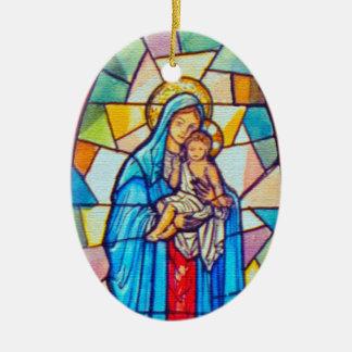 Ornamento De Cerâmica Madonna e estilo do vitral da natividade da