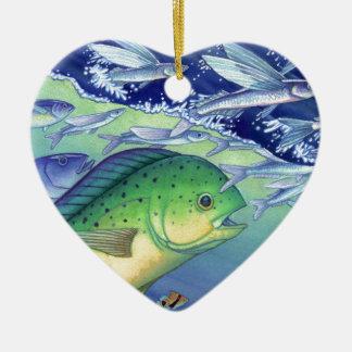 Ornamento De Cerâmica Mahi Mahi (peixe do golfinho) que persegue peixes