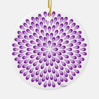 Ornamento De Cerâmica Mandala roxa do pavão