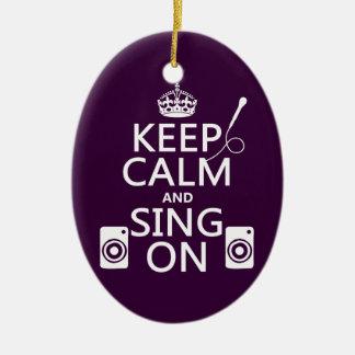 Ornamento De Cerâmica Mantenha a calma e cante-a em (o karaoke)