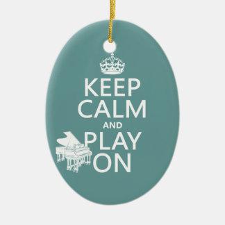 Ornamento De Cerâmica Mantenha a calma e o jogo em (piano) (alguma cor