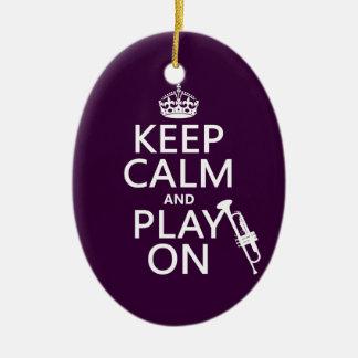 Ornamento De Cerâmica Mantenha a calma e o jogo em (trombeta) (todas as