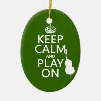Ornamento De Cerâmica Mantenha a calma e o jogo em (violoncelo) (alguma