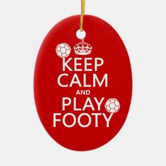 Ornamento De Cerâmica Mantenha a calma e o jogo Footy (futebol) (o