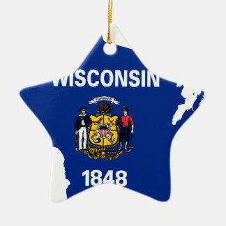 Ornamento De Cerâmica Mapa da bandeira de Wisconsin