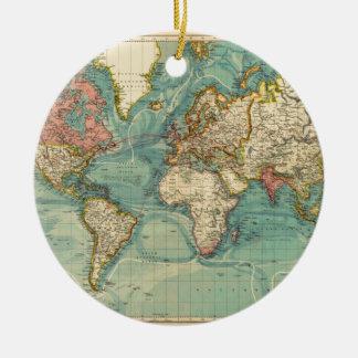 Ornamento De Cerâmica Mapa do mundo do vintage