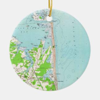 Ornamento De Cerâmica Mapa do vintage da praia Delaware de Bethany