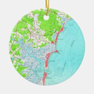 Ornamento De Cerâmica Mapa do vintage da praia New Hampshire de Hampton