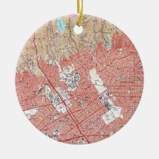 Ornamento De Cerâmica Mapa do vintage de Beverly Hills Califórnia
