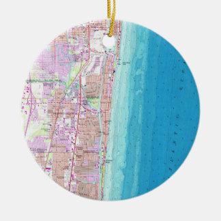 Ornamento De Cerâmica Mapa do vintage de Boca Raton Florida (1962)