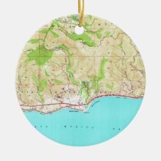 Ornamento De Cerâmica Mapa do vintage de Malibu Califórnia (1950)