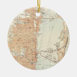 Ornamento De Cerâmica Mapa do vintage de Miami Florida (1950)