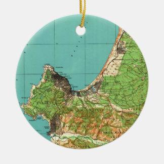 Ornamento De Cerâmica Mapa do vintage de Monterey Califórnia (1941)