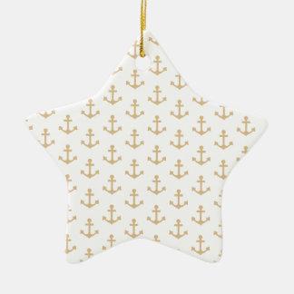 Ornamento De Cerâmica Marinheiro náutico do teste padrão bege da âncora