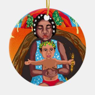 Ornamento De Cerâmica Mary e Jesus - mensagem para todas as culturas